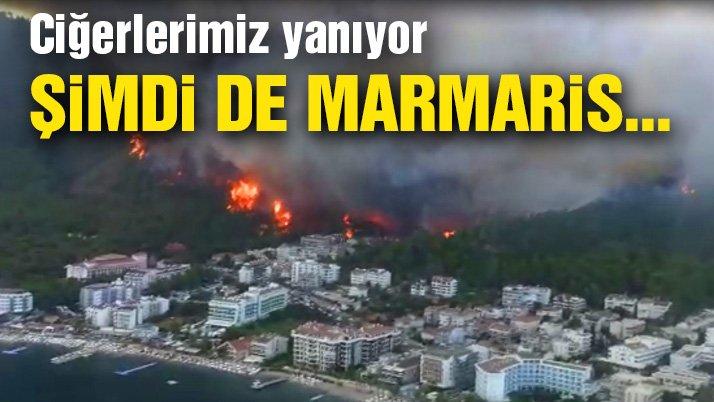 Bir yangın da Mamaris'te, hızla büyüyor