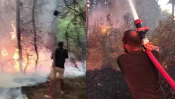 Tatile giden Adanalı gençler, yangına müdahale etti