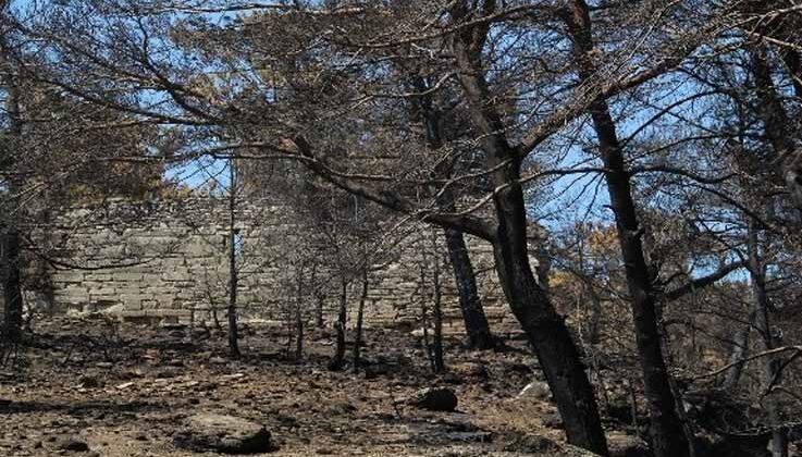 Manavgat'taki yangın Lyrbe Antik Kenti'ne de zarar verdi