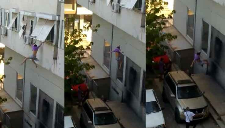 Genç kız 'Beni kurtarın' diyerek pencereden kendini boşluğa bıraktı